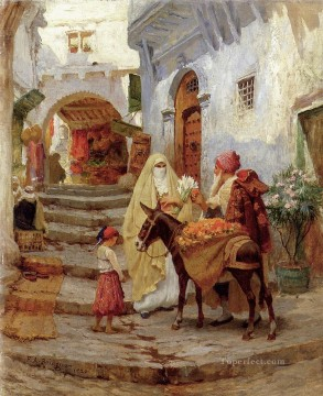 Arabic Oil Painting - The Orange Seller Arabic Frederick Arthur Bridgman