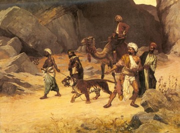 Arab Painting - The Tiger Hunt Arabian painter Rudolf Ernst