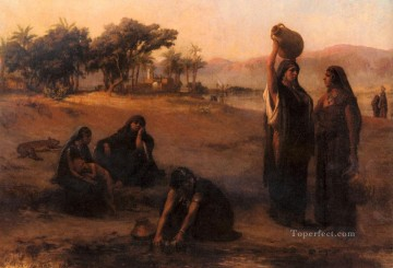 Arabic Oil Painting - Women Drawing Water From The Nile Arabic Frederick Arthur Bridgman