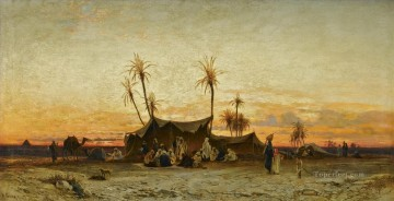 un accampamento arabo al tramonto Hermann David Salomon Corrodi orientalist scenery Araber Oil Paintings