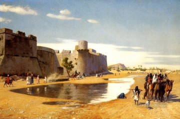 Artworks in 150 Subjects Painting - An Arab Caravan outside a Fortified Town Egypt Arab Jean Leon Gerome