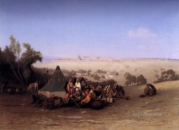Orientalist Art Painting - An Arab Encampment On The Mount Olives With Jerusalem Beyond Arabian Orientalist Charles Theodore Frere