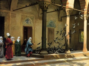 Arab Painting - Harem Women Feeding Pigeons in a Courtyard Arab Jean Leon Gerome