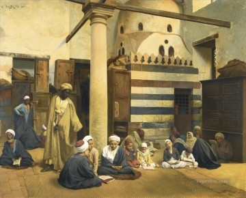 In the madrasa Ludwig Deutsch Orientalism Araber Oil Paintings