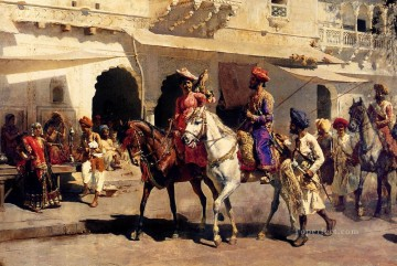 Artworks in 150 Subjects Painting - Leaving For The Hunt At Gwalior Arabian Edwin Lord Weeks