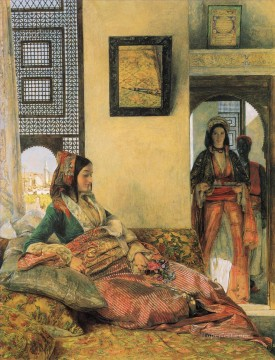 Artworks in 150 Subjects Painting - Life in the Hareem Cairo Oriental John Frederick Lewis Arabs
