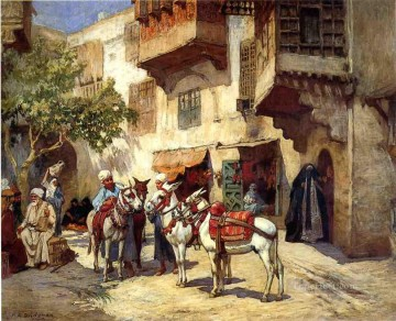 Arabic Oil Painting - Marketplace in North Africa Arabic Frederick Arthur Bridgman