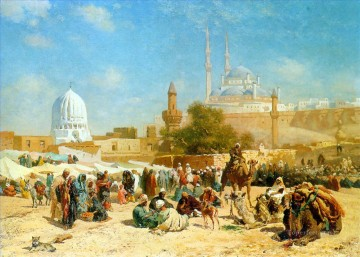 Artworks in 150 Subjects Painting - Outside Cairo by Cesare Biseo Arabs