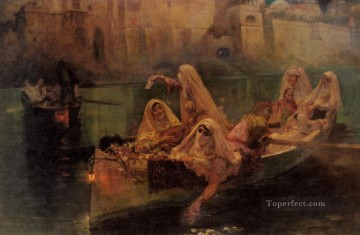 Arabic Oil Painting - The Harem Boats Arabic Frederick Arthur Bridgman