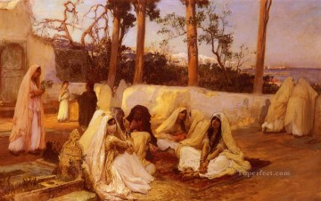 Arabic Oil Painting - Women At The Cemetery Algiers Arabic Frederick Arthur Bridgman
