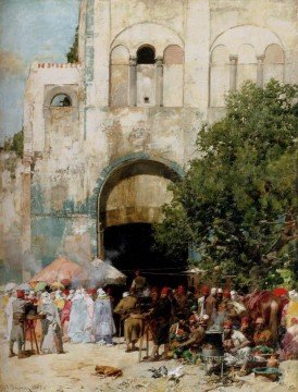 Artworks in 150 Subjects Painting - market Day Constantinople Arabian Alberto Pasini