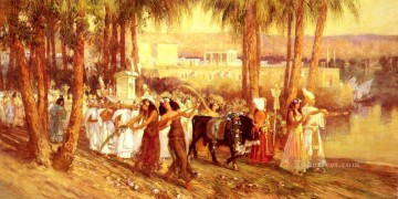 Arabic Oil Painting - An Egyptian Procession Arabic Frederick Arthur Bridgman
