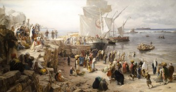Jaffa Recruiting of Turkish Soldiers in Palestine Gustav Bauernfeind Araber Oil Paintings