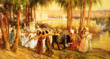 Arabic Oil Painting - Procession in Honor of Isis Arabic Frederick Arthur Bridgman