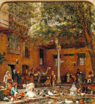 Arab Painting - Study for The Courtyard of the Coptic Patriarchs House in Cairo John Frederick Lewis Arab