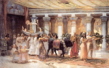 Arabic Oil Painting - The Procession of the Sacred Bull Anubis Arabic Frederick Arthur Bridgman