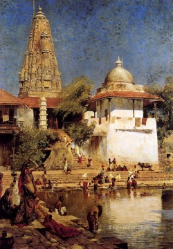 Arab Painting - The Temple And Tank Of Walkeshwar At Bombay Arabian Edwin Lord Weeks