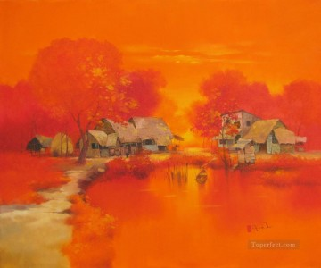 Asian Painting - Summer noon in Village Vietnamese Asian