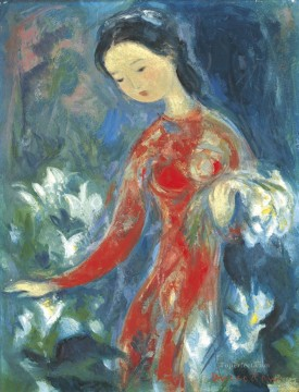 Asian Painting - VCD Girl with flowers Asian