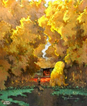 Asian Painting - Autum pond Vietnamese Asian