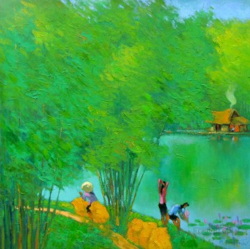 Asian Painting - Green pond Vietnamese Asian