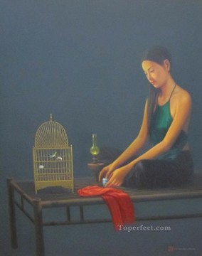 Asian Painting - Lady with birdcage Vietnamese Asian