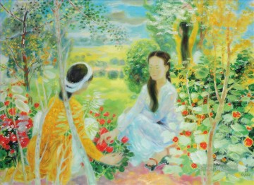 Asian Painting - Talking in Flowers Asian