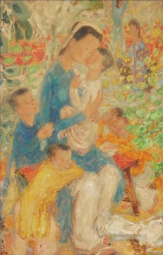 Asian Painting - WOMAN AND CHILDREN IN THE GARDEN Asian