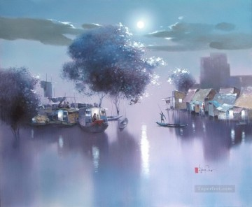 Asian Painting - full moon night Vietnamese Asian