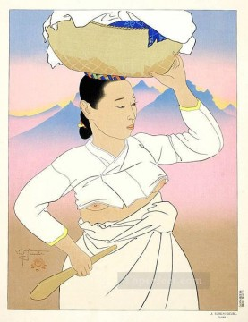 Asian Painting - la blanchisseuse coree 1955 Paul Jacoulet Asian