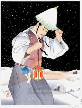 Asian Painting - nuit de neige coree 1939 Paul Jacoulet Asian