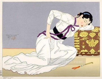 Asian Painting - tempete du coeur seoul coree 1948 Paul Jacoulet Asian