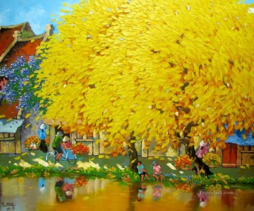 Asian Painting - Autumn noon in Hanoi Vietnamese Asian