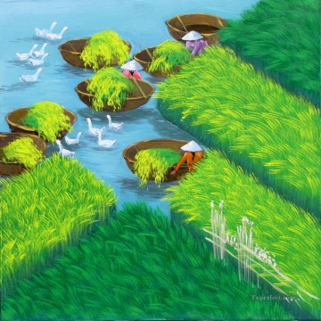 Asian Painting - Early morning on the rice field Vietnamese Asian