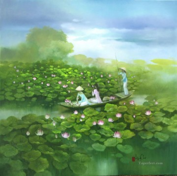Asian Painting - Lotus pond Vietnamese Asian