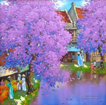 Asian Painting - Purple blossom in autumn DNS Vietnamese Asian