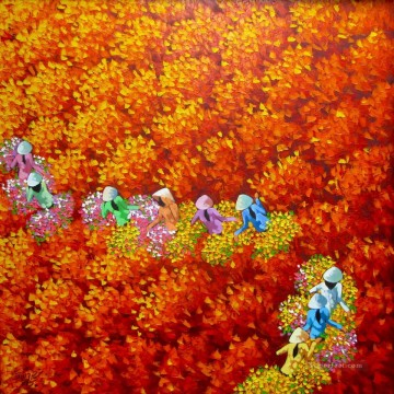 Asian Painting - Red flower field Vietnamese Asian