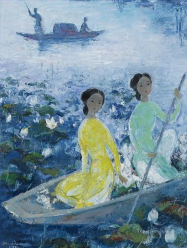 Asian Painting - VCD Ladies Boating in Lotus Pond Asian