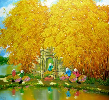 Asian Painting - Autumn pond DNS6 Vietnamese Asian