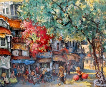 Asian Painting - Busy morning Marketplace Vietnamese Asian