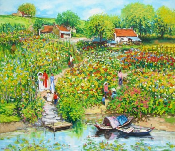 Asian Painting - Flower garden by the river Vietnamese Asian