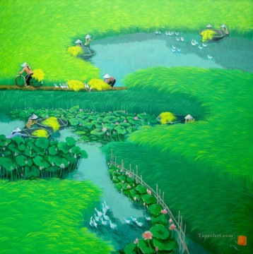 Asian Painting - Lotus on the rice field Vietnamese Asian