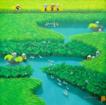 Asian Painting - Lotus on the rice field fowl Vietnamese Asian