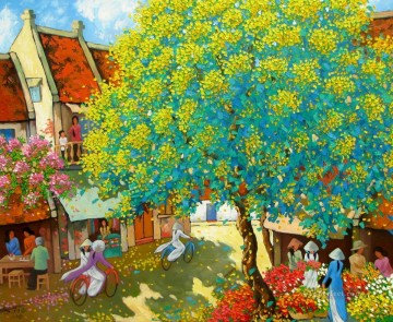 Asian Painting - Street corner in Spring Vietnamese Asian