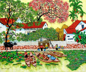 Asian Painting - Tran Thu Huong Village noon Vietnamese Asian