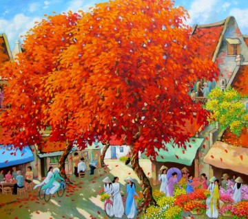 Asian Painting - Blossom trees Girls Vietnamese Asian