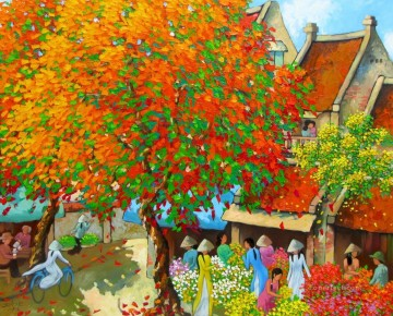 Asian Painting - Busy morning in Spring Vietnamese Asian
