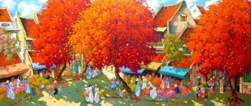 Asian Painting - Flower market in Spring Vietnamese Asian