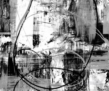 abstract Oil Painting - black and white abstract cicle