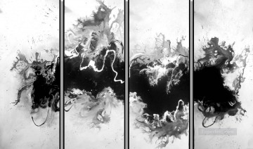 panels Painting - black and white in 4 panels